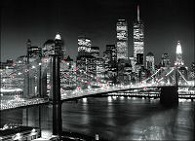 Manhattan Brooklyn Bridge Canvas Canvas LED Pictures - Click on image to enlarge