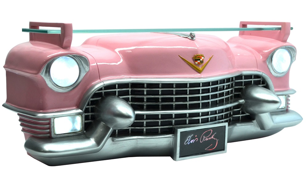 Elvis Resin Pink Cadillac 3D Front Wall Shelf with Lights ...
