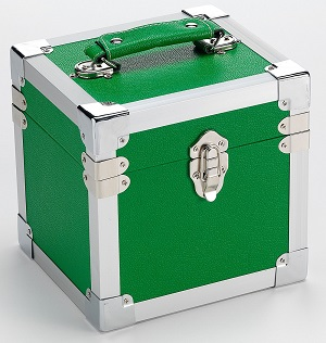 Portable 7in Single Record Storage Box Green