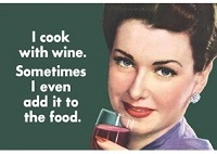 I Cook With Wine Fridge Magnet