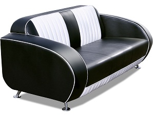 American 50s Style High Back Retro Sofa - Click on image to enlarge