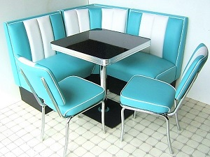 American Diner Set - 2 x CO24 Chairs & 1 x TO23W Table & 2 Single Booth & 1 Corner Booth