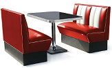 2 Seater Hollywood Diner Booth Set Red