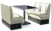 2 Seater Hollywood Diner Booth Set Off White
