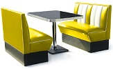2 Seater Hollywood Diner Booth Set Yellow