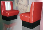 Single Hollywood Diner Booth Set Red